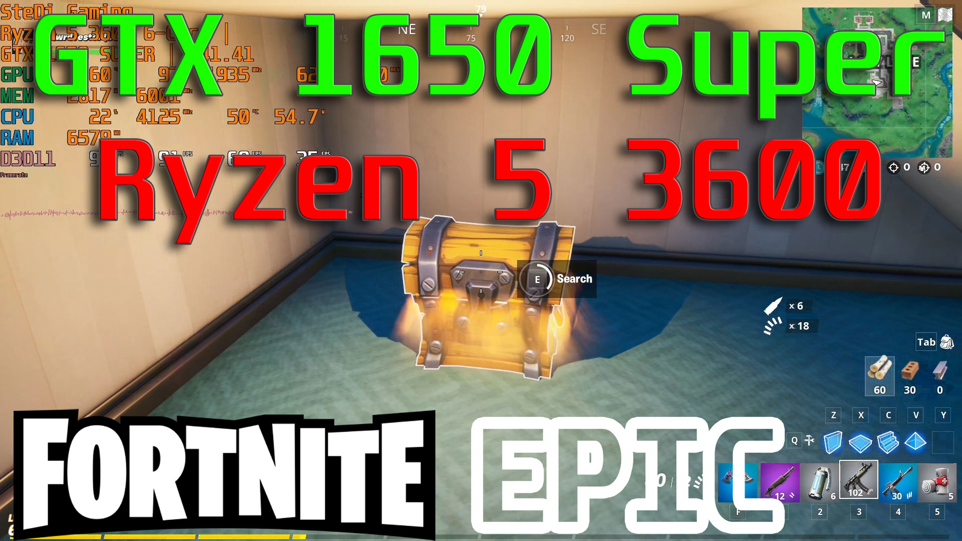 Fortnite: GTX 1650 Super & Ryzen 5 3600 Low/Competitive/Epic Settings Gameplay Test