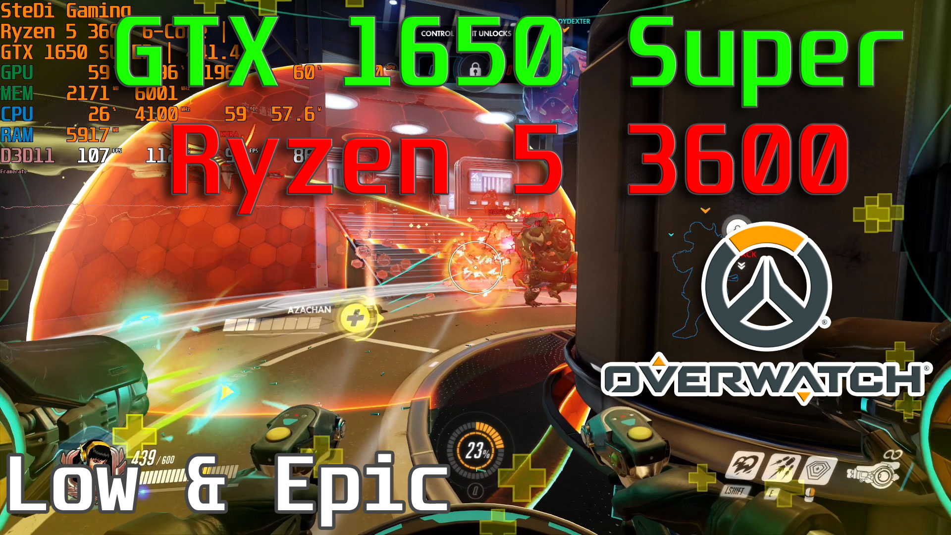 GTX 1650 Super: Overwatch Low Epic With Ryzen 5 3600